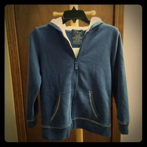 L.L. Bean Blue and White Boy's Fleece Lined Hoodie